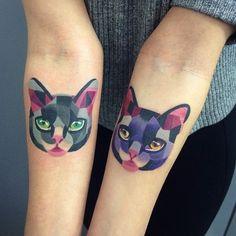 watercolour cat tattoos