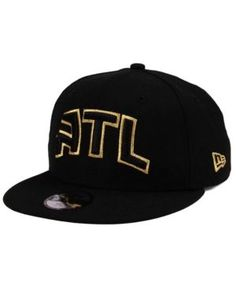 New Era Boys' Atlanta Hawks Black on Gold 9FIFTY Snapback Cap - Black Adjustable
