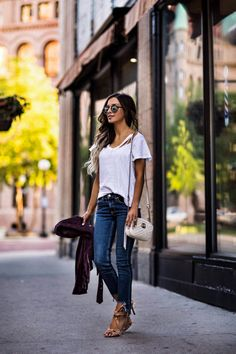 JUNE 13TH, 2017 BY MARIA My Favorite Basics - OUTFIT DETAILS: LNA Tee BlankNYC Burgundy Jacket Rag & Bone Cropped Jeans Schutz Heels Gucci Marmont Bag Illesteva Sunglasses BaubleBar Layered Necklace