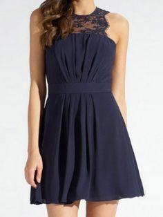 Sexy Jewel Neck Sleeveless Spliced Solid Color Women's Dress