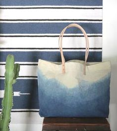 Indigo Dyed Mountain Range Tote Bag
