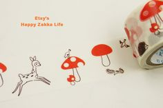 Japanese Washi Masking Tape  Mushroom and Animal  by zakkalover, $4.50
