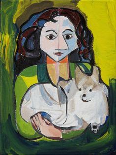 "'Portrait of Nayiri and Albi' by Tadd Mullinix  August 2013 Ann Arbor  acrylic on canvas  9"" x 12"" x .75""  NFS"