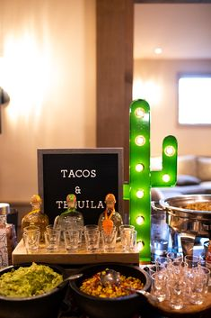 Incorporate this cool, unique cocktail hour food idea station for your wedding: LA Tacos and Tequila! Patron shooters, tacos, guacamole bar and more for an unforgettable wedding reception at Bear Brook Valley. Tequila Tasting, Tequila Bar, Tacos And Tequila, Taco Bar Party, Party Food Bars, Bar Food, Mexican Birthday Parties, Mexican Party, Don Chuy