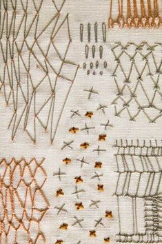 Constance Howard, net and spot sampler - CHM - VADS: the online resource for visual arts Embroidery Sampler, Paper Embroidery, Modern Embroidery, Embroidery Stitches, Machine Embroidery, Boro Stitching, Hand Stitching, Portrait Embroidery, Textile Tapestry