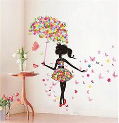 Butterfly Girl Removable Wall Art Sticker Vinyl Decal DIY Room Home Mural Decor girl Removable Art Vinyl DIY Butterfly Tree Wall Sticker Decal Mural Home Room Decor for sale online Large Wall Stickers, Wall Stickers Home Decor, Girls Wall Stickers, Girl Bedroom Walls, Girl Room, Bedroom Ideas, Bedrooms, Bedroom Sofa, Bedroom Designs