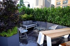 Garten im Hinterhof - hohe Pflanzkübel bieten Sichtschutz