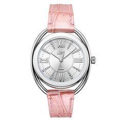 4aa459aeb61 657-910 - JBW Women s Gigi Quartz Silver-tone Diamond Accented Pink Leather  Strap