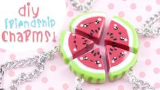 ♡ DIY Watermelon Friendship Charms ♡ | Kawaii Friday Fimo Kawaii, Polymer Clay Kawaii, Kawaii Diy, Fimo Clay, Polymer Clay Charms, Polymer Clay Projects, Clay Crafts, Polymer Clay Jewelry, Bff Necklaces