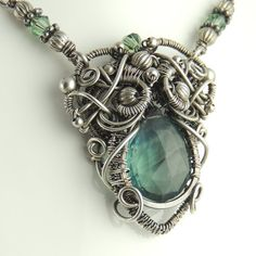 Green Fluorite and Sterling Silver Sculpted Necklace, Goddess Collection - Medusa