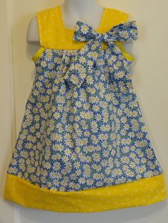 White Daisy Print Girls Dress, Made To Order Size 3 thru Size 8, Sleeveless Dress, Blue Cotton Fabric by DesignsByGranGran on Etsy