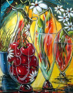 Daniel Vincent, Art Du Vin, Acrylic Flowers, Wine Art, Canadian Artists, Oeuvre D'art, Still Life, Plant Leaves, Abstract Art
