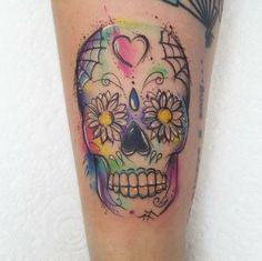 watercolour sugar skull