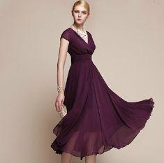 Women Newly Long Style V Collar Short Sleeve High Waist Purple Chiffon Dress - This thing is gorgeous