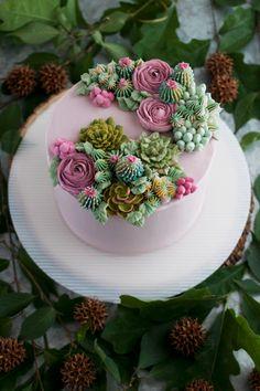 Pretty Cakes, Cute Cakes, Beautiful Cakes, Yummy Cakes, Amazing Cakes, Nake Cake, Succulent Cupcakes, Cactus Cake, Cute Desserts