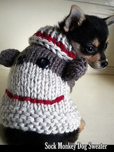 Designed by myself, this adorable dog sweater is one of the cutest things I've ever made. Not only are they adorable, but they fit great. They are designed to be stretchy and very comfortable. PERFECT for puppies and small dogs. Looks great in traditional sock monkey colors, or try different color combos to make them even more unique!