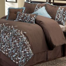 blue and brown bed set... kind of like the one we have now....