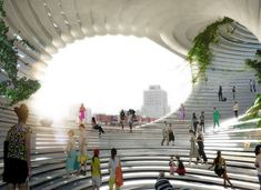 Eco Factor: Sustainable building with rooftop gardens and indoor green spaces. BIG Architects have come up with yet another proposal for an undisclosed location in Taiwan. Christened TED, the building features an urban mix of programs with no. Amphitheater Architecture, Bjarke Ingels Architecture, Parametric Architecture, Green Architecture, Landscape Architecture, Architecture Design, Parametric Design, Futuristic Architecture, Urban Heat Island