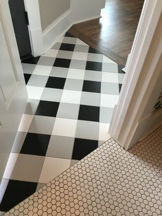 Buffalo check tile flooring - created using standard black, white, and gray tiles