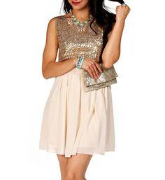 Gold Sequin Skater Dress