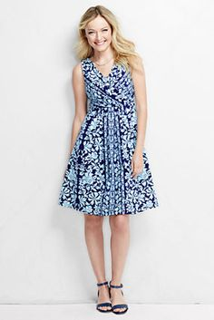 Women's Fit and Flare Dress - Print from Lands' End - Tall - $69 - Although the regular size sometimes fits me better in this style