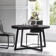 Buy Frank Hudson Gallery, Boho Boutique Round Dining Table at stockists sale price. Shop for Gallery Direct Boho boutique Round Dining Table from CFS UK. Extendable Dining Table, Dining Room Table, Table And Chairs, Dining Area, Dining Sets, Black Round Dining Table, Table Frame, Contemporary Interior, Boho Boutique