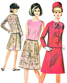1960s Womens Suit Pattern McCalls 7447 A Line Skirt Fitted Jacket Sleeveless Blouse Womens Vintage Sewing Pattern Bust 34
