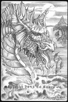 """Water Dragon """"Gathering"""" 4 of 4 by Ed Beard Jr Dragon Fantasy Myth Mythical Mystical Legend Dragons Wings Sword Sorcery Magic Coloring pages colouring adult detailed advanced printable Kleuren voor volwassenen coloriage pour adulte anti-stress kleurplaat voor volwassenen Line Art Black and White"""