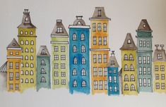 Bright City Scene, watercolor and ink whimsical houses and buildings, baby room sign, print of original painting
