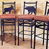 Wilderness Bar Chairs by Frontier Ironworks at Rocky Mountain Decor.
