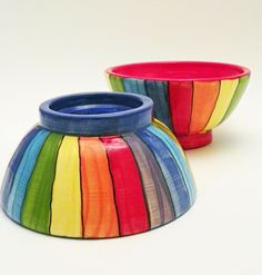 Rainbow striped ceramic ice cream bowls