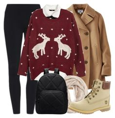 """""""Christmas time"""" by alexandra-provenzano ❤ liked on Polyvore featuring Uniqlo, H&M, WithChic, MANGO and Timberland"""