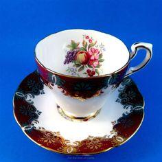 Striking Deep Red Border & Fruit Design Paragon Tea Cup and Saucer Set