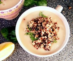 Very tasty cauliflower soup with basil, lemon and quinoa, and yes totally vegetarian soup