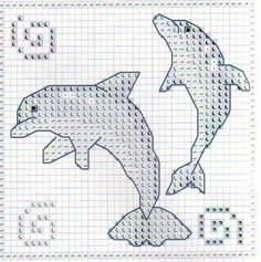 Small cross stitch pattern Dolphins