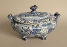Staffordshire covered tureen, 19th c., depicting Wilkie's designs the valentine, 9'' h., 14 1/2'' w.
