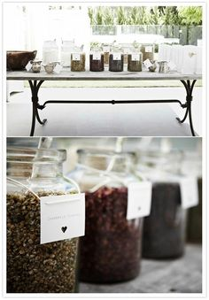 Tea Bar idea, each container is different herb to make tea
