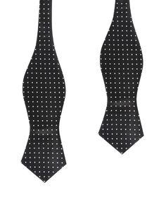 Men's Untied Point Bowtie Black with Small White Polka Dots Self Tie Diamond Tip Bow Tie (X444-SDBT) Men Tuxedo Bowties Mens Ties Freestyle