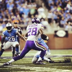 I like this football player, Adrian Peterson. He is a running back with the Minnesota Vikings. He is one of the best running back in the NFL. He run's so fast straight to the touchdown zone.