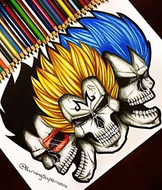 """""""Undead Vegeta  On popular demand I did another Skull/DBZ piece. I slightly changed the skull design to make it look less monster-esque and more human…"""""""