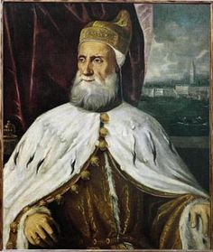 Francesco Donato, (1468-1553), Doge of Venice, in official robes, with Doge's cap (corno), coat with large gold buttons and ermine collar. Second half 16th.