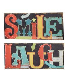 'Smile' & 'Laugh' Light Up LED Indoor Canvas Wall Art Set