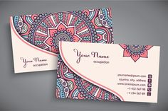 Business cards in ethnic style by ViSnezh on Creative Market