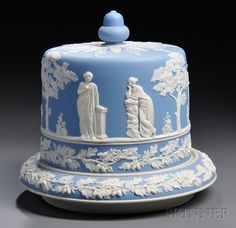 Light Blue Jasperware Cheese Dish and Cover, England, late 19th century