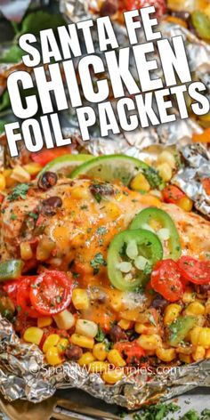 This chicken foil packet recipe is and grilling favorite. Using black beans corn and salsa it is a flavor-packed meal perfect for the grill for the oven or the campfire! Chicken Foil Packets, Amazing Chicken Recipes, Tasty Chicken Recipes, Grilled Foil Packets, Grilled Food, Grilled Chicken Recipes, Steak Recipes, Foil Pack Meals, Tin Foil Dinners