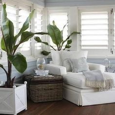 Sunroom with Plantation Shutters, Cottage, Living Room                                                                                                                                                     More