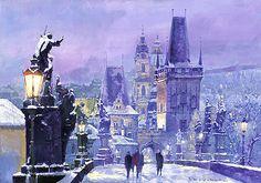 Prague winter.Charles Bridge.