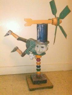 Vintage Hand Carved Wood Flying Man in Top Hat Whirligig American Folk Art