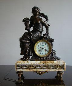 Antique French Fritz Marti Moreau Figural Mantel Clock Marble & Spelter NOUVEAU
