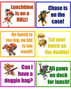 paw patrol lunch box notes